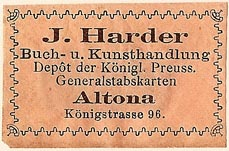 J. Harder, Buch- u. Kunsthandlung, Altona [Hamburg], Germany (38mm x 24mm)