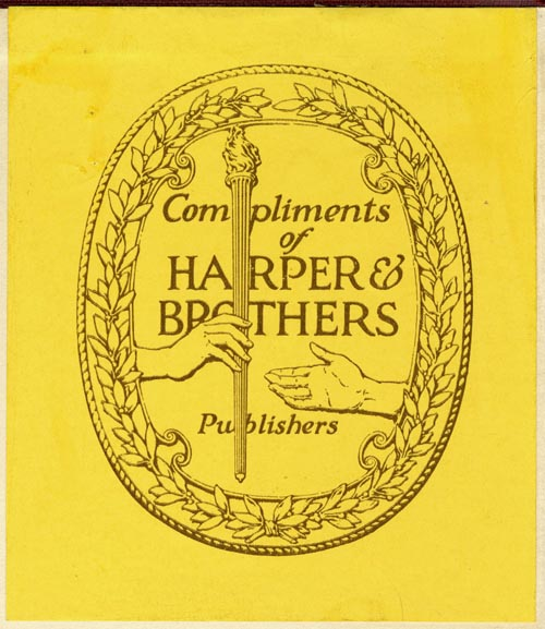 Harper & Brothers, New York, NY (83mm x 96mm, ca.1927)