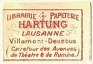 Hartung, Librairie - Papeterie, Lausanne, Switzerland (22mm x 14mm). Courtesy of S. Loreck.