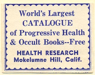 Health Research, Mokelumne Hill, California (51mm x 40mm)