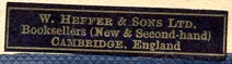 W. Heffer & Sons, Cambridge, England (34mm x 8mm)