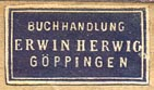 Erwin Herwig, Buchhandlung, Göppingen, Germany (22mm x 12mm)