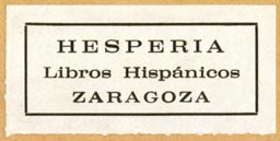 Hesperia, Libros Hispánicos, Zaragosa, Spain (42mm x 20mm). Courtesy of R. Behra.