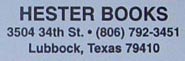 Hester Books, Lubbock, Texas (29mm x 9mm)