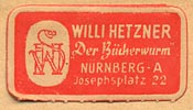 Willi Hetzner, Nurnberg [Germany] (28mm x 15mm, ca.1940s)