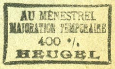 Heugel & Cie., au Ménestrel, Paris, France (38mm x 22mm). Courtesy of R. Behra.