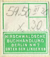 Hirschwaldsche Buchhandlung, Berlin, Germany (26mm x 30mm, with tear-off, ca.1928)