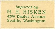 M.H. Hisken, Seattle, Washington (31mm x 16mm, after 1937)