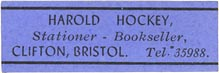 Harold Hockey, Stationer -- Bookseller, Bristol, England (approx 36mm x 12mm)