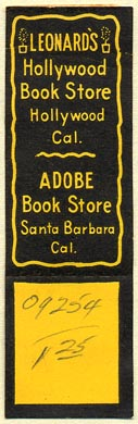 Leonard's Hollywood Book Store -- Adobe Book Store, Hollywood & Santa Barbara, California (64mm x 20mm, with tear-off). Courtesy of Donald Francis.