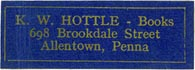K.W. Hottle, Allentown, Pennsylvania (approx 32mm x 11mm)
