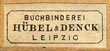 Hübel & Denck, Buchbinderei, Leipzig, Germany (17mm x 7mm, ca.1889)
