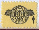 International Brotherhood of Bookbinders (21mm x 15mm, ca.1955). Courtesy of Robert Behra.