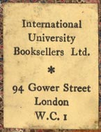 International University Booksellers Ltd., London, England (23mm x 30mm).