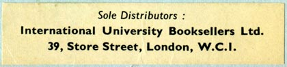 International University Booksellers Ltd., London, England (69mm x 15mm, after 1959). Courtesy of Robert Behra.