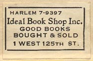 Ideal Book Shop, New York, NY (30mm x 19mm, ca.1920s).