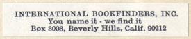 International Bookfinders, Bevery Hills, California (44mm x 8mm)