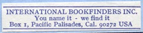 International Bookfinders, Pacific Palisades (47mm x 10mm, ca.1970s?)
