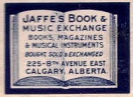 Jaffe's Book & Music Exchange, Calgary, Canada (30mm x 22mm, ca. 1924). Courtesy of Brian Busby.