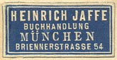 Heinrich Jaffe, Buchhandlung, Munich, Germany (26mm x 13mm).