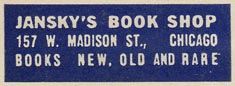 Jansky's Book Shop, Chicago, Illinois (38mm x 13mm).