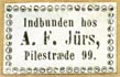 A.F. J�rs [binder], Copenhagen, Denmark (18mm x 11mm, ca.1850s?). Courtesy of Robert Behra.