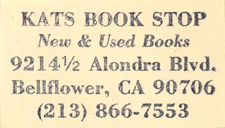 Kats Book Stop, Bellflower, California (inkstamp, 48mm x 26mm)