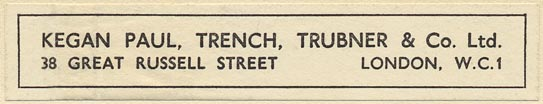 Kegan Paul, Trench, Trubner & Co., London, England (90mm x 17mm, ca.1927)