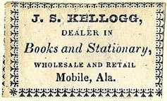 J.S. Kellogg, Books and Stationary, Mobile, Alabama (38mm x 22mm, ca.1830s or 40s?). Courtesy of S. Loreck.