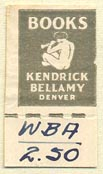 Kendrick Bellamy Books, Denver, Colorado (15mm x 28mm, with tear-off)