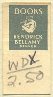 Kendrick Bellamy Books, Denver, Colorado (16mm x 32mm, with tear-off). Courtesy of Donald Francis.