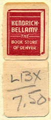 Kendrick Bellamy Books, Denver, Colorado (15mm x 38mm, with tear-off)