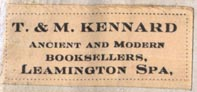 T. & M. Kennard, Ancient & Modern Booksellers, Leamington Spa, England (31mm x 13mm)