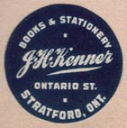 J.H. Kenner, Books & Stationary, Stratford, Ontario, Canada (22m dia., ca.1919). Courtesy of Brian Busby.