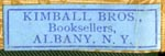 Kimball Bros., Booksellers, Albany, New York (24mm x 7mm, late 19th c.?)