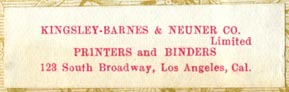 Kingsley-Barnes & Neuner Co, Los Angeles, Calif (46mm x 14mm, ca.1900)