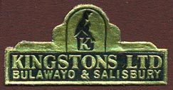 Kingstons, Bulawayo & Salisbury [now Harare], Zimbabwe (38mm x 20mm)