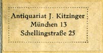 J. Kitzinger, Antiquariat, Munich, Germany (33m x 17mm)