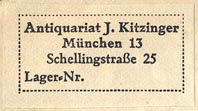 J. Kitzinger, Antiquariat, Munich [ Germany] (44m x 20mm)