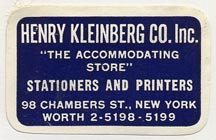 Henry Kleinberg Co., New York (35mm x 22mm)