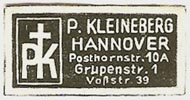 P. Kleineberg, Hannover, Germany (approx 30mm x 15mm, ca.1950)