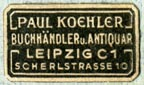 Paul Koehler, Buchhandler u. Antiquar., Leipzig, Germany (23mm x 13mm)