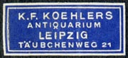 K.F. Koehler, Antiquarium, Leipzig, Germany (29mm x 13mm, after 1927)