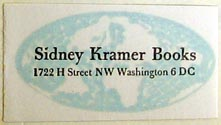 Sidney Kramer Books, Washington DC (37mm x 20mm, after 1955). Courtesy of Charlie Breunig.