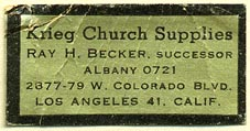 Krieg Church Supplies, Los Angeles, California (37mm x 19mm)