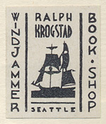 Ralph Krogstad, Windjammer Bookshop, Seattle (17mm x 21mm, ca. 1940)