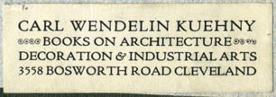 Carl Wendelin Kuehny, Books on Architecture, Decoration & Industrial Arts, Cleveland, Ohio (50mm x 17mm)