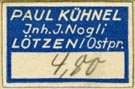 Paul K�hnel, L�tzen, East Prussia [now Giżycko, Poland] (22mm x 10mm, before 1945?)