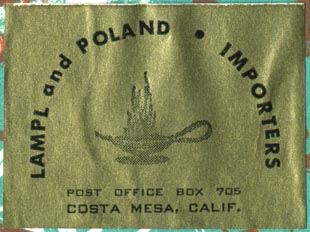 Lampl and Poland, Importers, Costa Mesa, California (50mm x 38mm, ca.1956)