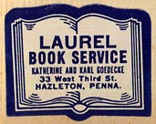 Laurel Book Service, Katherine and Karl Goedecke, Hazleton, Pennsylvania (27mm x 22mm).